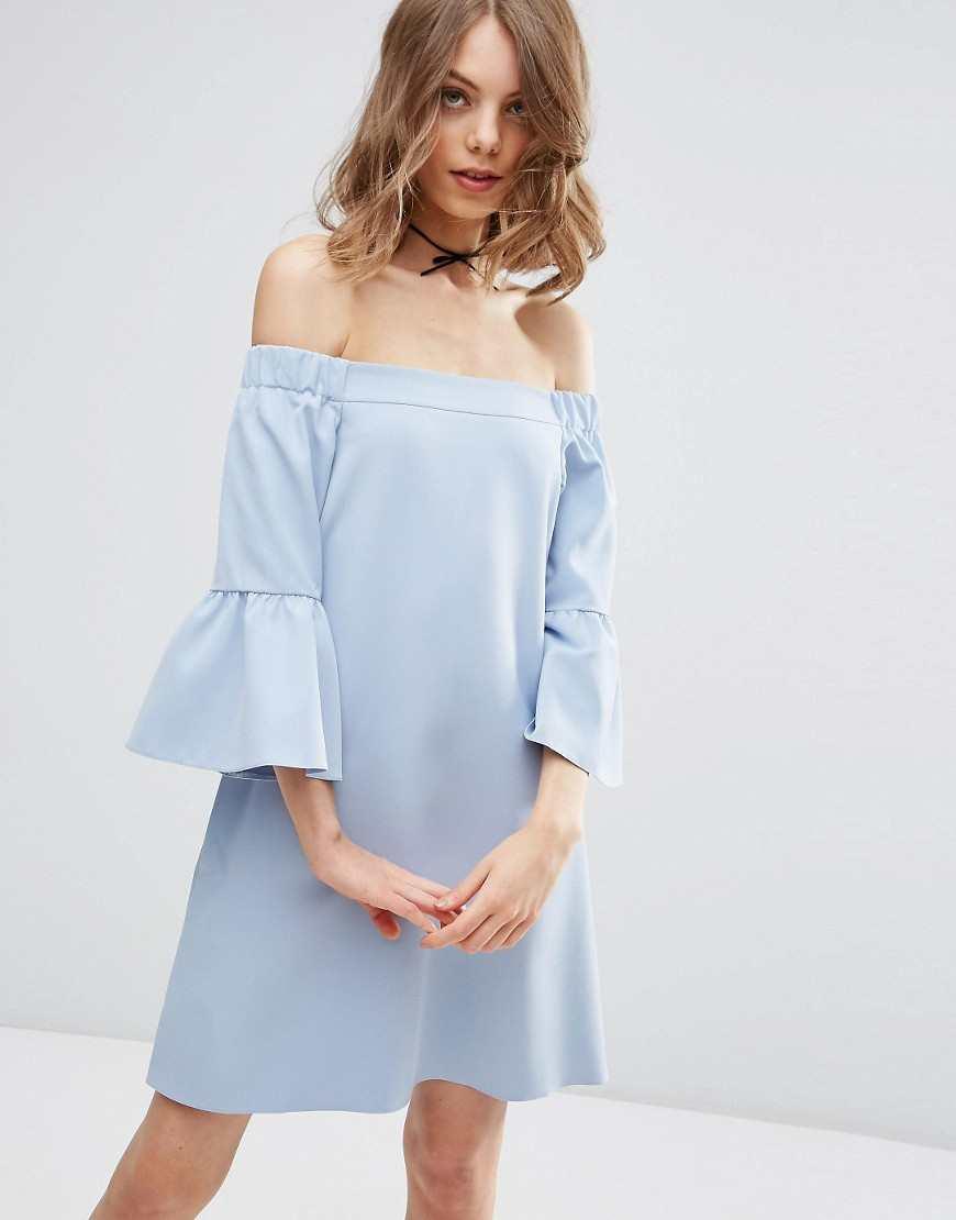 ASOS Fluted Sleeve Off Shoulder Mini Dress