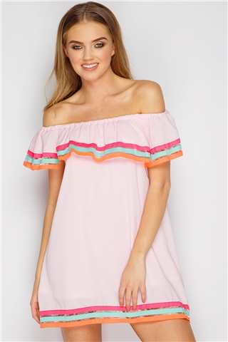 Darcie Nude Multi Stripe Bardot Dress