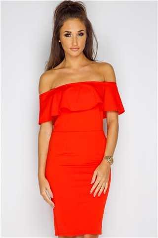 Megan McKenna Red Frill Bardot Dress