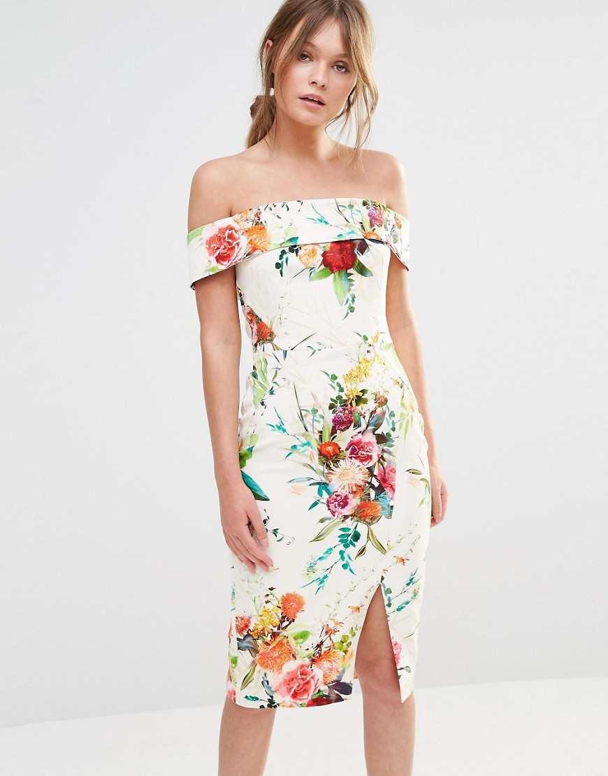Oasis Floral Bardot Pencil Dress