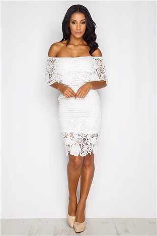 Selina White Bardot Lace Dress