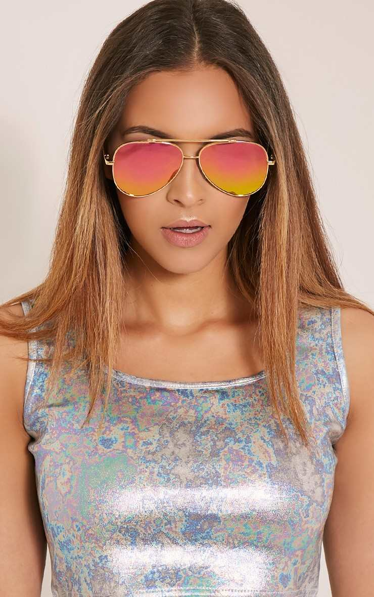 Pretty Little Thing RANIA PINK LENSE AVIATOR SUNGLASSES