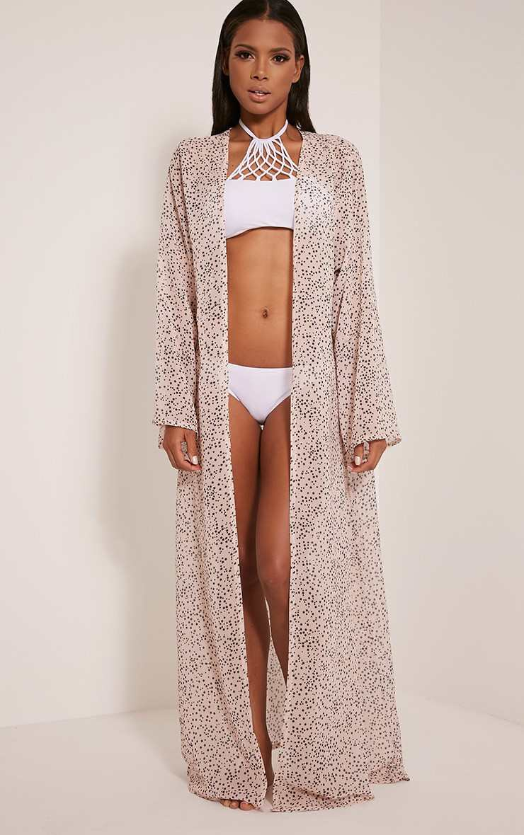 Pretty Little Thing XALIA NUDE STAR PRINT SHEER MAXI KIMONO