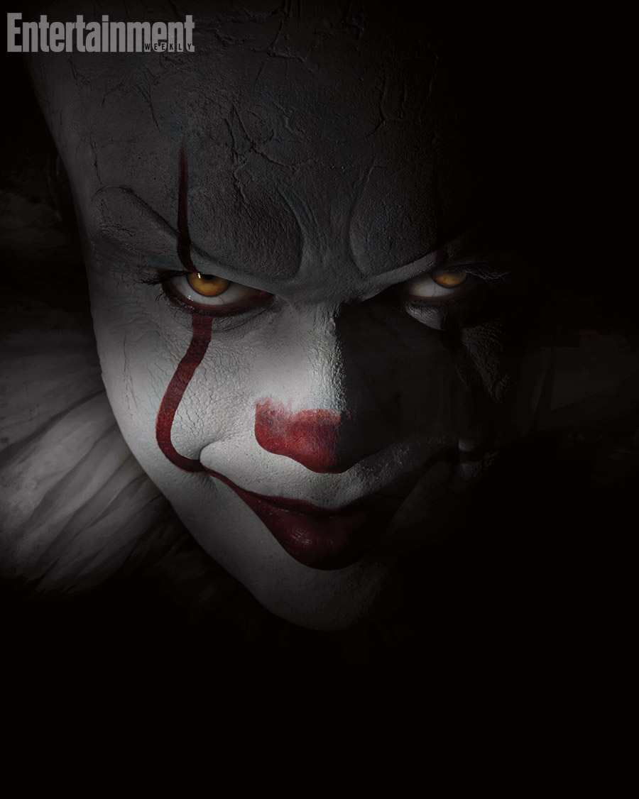 Bill Skarsgard in the first image as Pennywise the clown in the remake of IT TheFuss.co.uk
