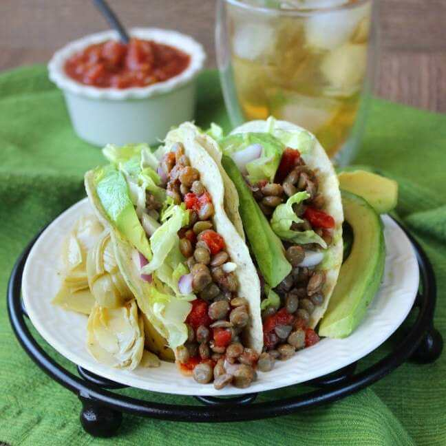 Vegan in the freezer spicy lentil tacos