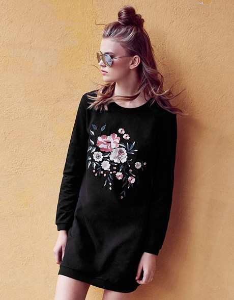 ANITA & GREEN EMBROIDERED SWEATSHIRT DRESS