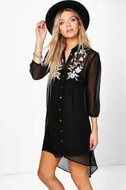 BOOHOO BOUTIQUE FLORAL EMBROIDERED SHIRT DRESS