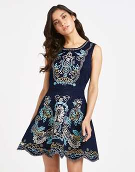 COMINO COUTURE HEAVY EMBROIDERED JACQUARD DRESS