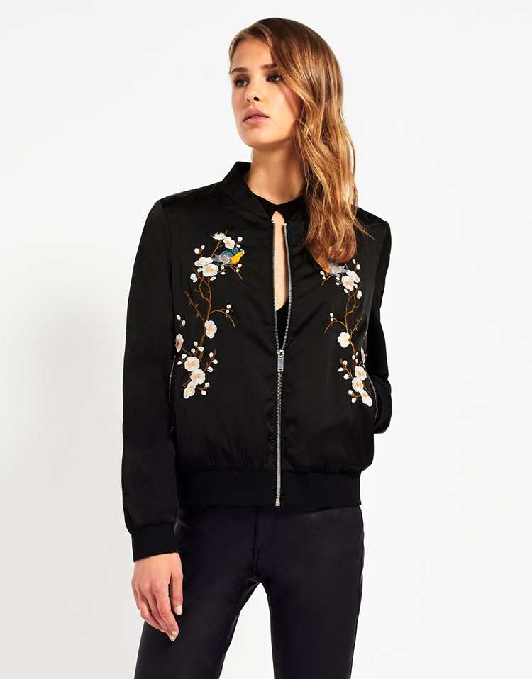 FASHION UNION EMBROIDERED BOMBER JACKET