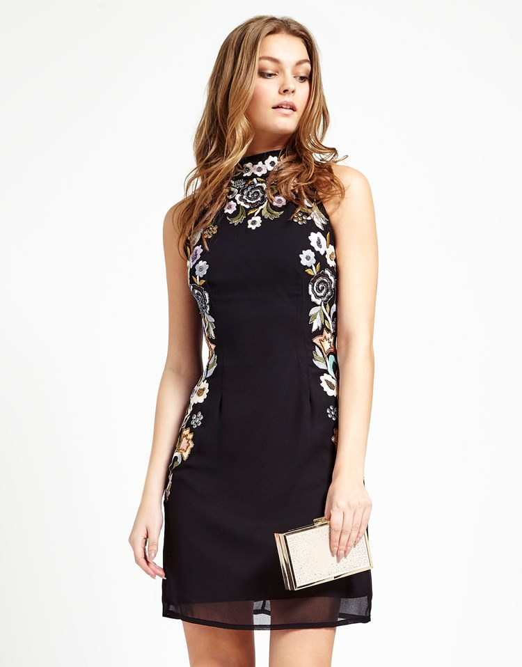 LACE & BEADS EMBROIDERED POPPY HALTER DRESS