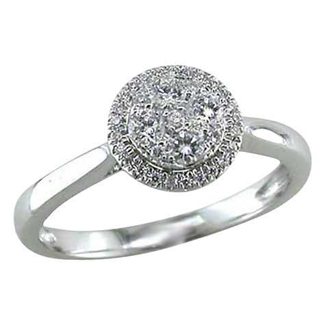 EWA 18ct White Gold Diamond Cluster Engagement Rin