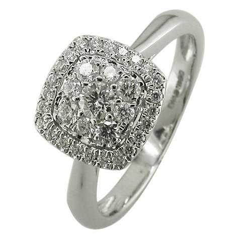 EWA 18ct White Gold Diamond Cushion Cluster Engagement Rin