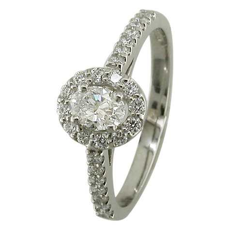 EWA Platinum Oval Cut Diamond Cluster Engagement Rin