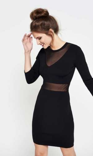 Miss Selfridge Black Sheer Bodycon Dress