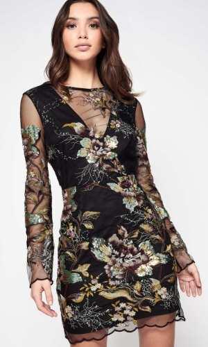 Miss Selfridge PREMIUM Long Sleeve Embellished Mesh Dress