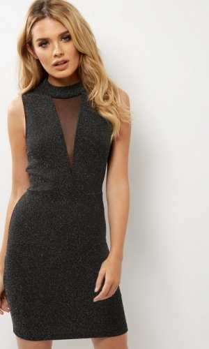 New Look Black Choker Neck Sheer Panel Metallic Bodycon Dress