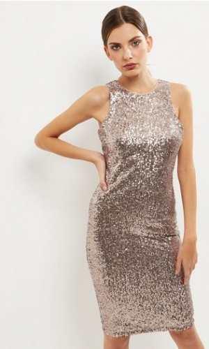 New Look Bronze Sequin Sleeveless Midi Bodycon Dress