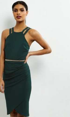 New Look Dark Green Crepe Belted Wrap Front Dress
