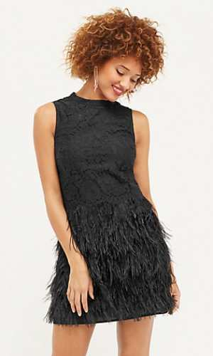 Oasis High Neck Feather Dress