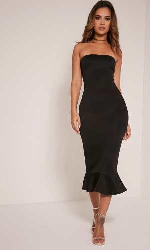 Pretty Little THING ISABELLA BLACK BANDEAU FRILL HEM MIDAXI DRESS