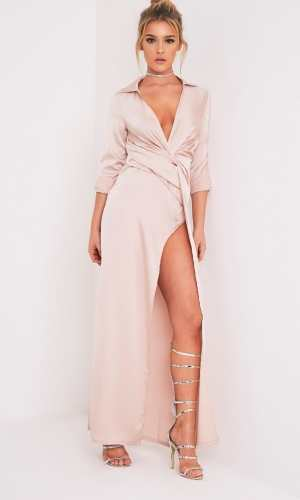 Pretty Little Thing ALYSSIA CHAMPAGNE TWIST FRONT MAXI SHIRT DRESS