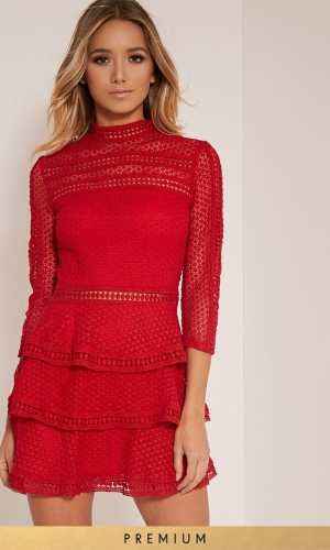 Pretty Little Thing CAYA RED PREMIUM LACE PANEL TIERED MINI DRESS