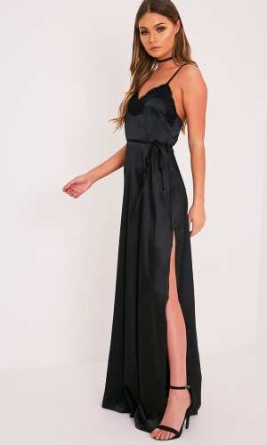 Pretty Little Thing LAURIE BLACK SATIN LACE TRIM MAXI DRESS