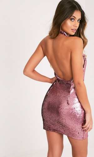 Pretty Little Thing NICKIE ROSE HIGH NECK SEQUIN BODYCON DRESS