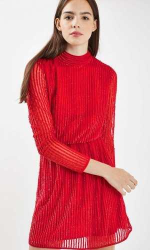 Topshop 80s Sequin Roll Neck Dress