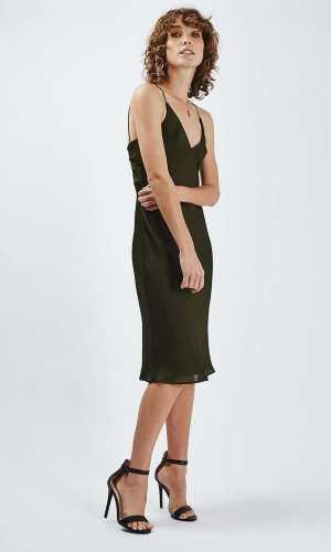 Topshop Drape Back Satin Slip Dress