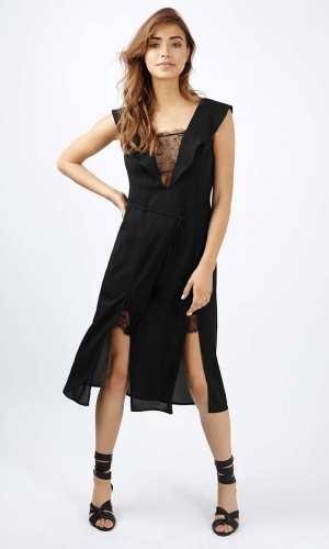 Topshop Lace Flute Sleeve Midi Dress