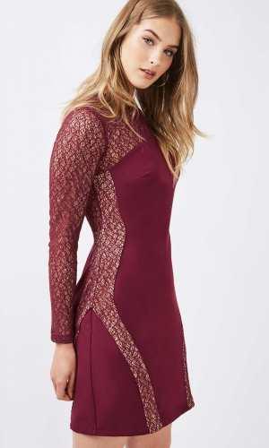 Topshop Long Sleeve Contour Lace Bodycon Dress