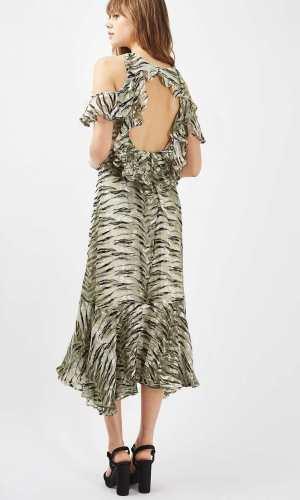 Topshop Silk Ruffle Open Back Dress