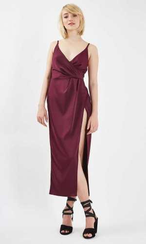 Topshop Thigh Split Wrap Over Midi Dress