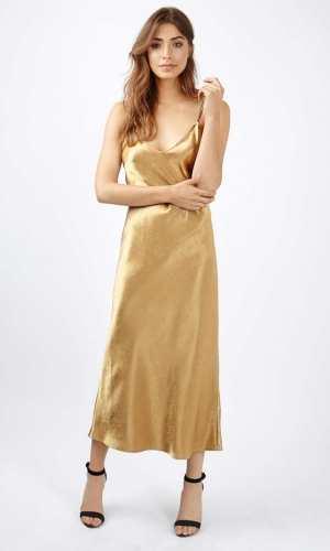 Topshop Two Strap Satin Midi Dress