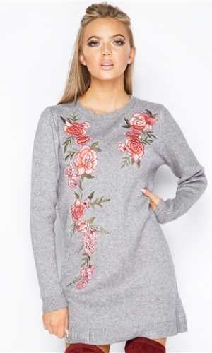 Miss Pap Aurora Grey Flower Embroidered Jumper Dress