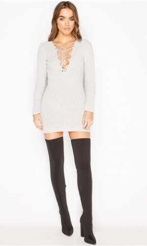 Miss Pap Kacia Grey Ribbed Tie Front Jumper Dress