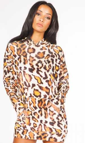 Miss Pap Kalina Leopard Print Velvet Hooded Jumper Dress