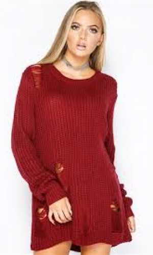 Miss Pap Kylie Wine Distressed Jumper Dress