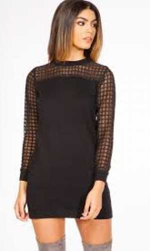 Miss Pap Naomi Black Mesh Detail Jumper Dress