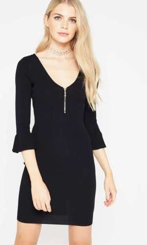 Miss Selfridge Black Zip Dry Handle Dress