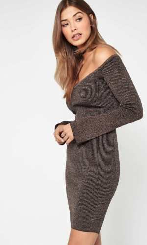 Miss Selfridge Long Sleeved Metallic Rib Dress