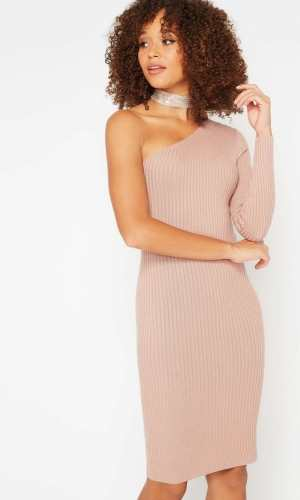 Miss Selfridge Nude One Shoulder Knitted Dress