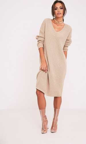 Pretty Little Thing BREEZE STONE V NECK OVERSIZED JUMPER DRESS