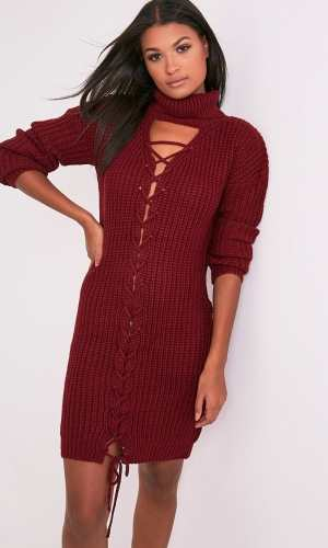 Pretty Little Thing JOSALINDA RED KNITTED FRONT TIE DETAIL ROLL NECK DRESS