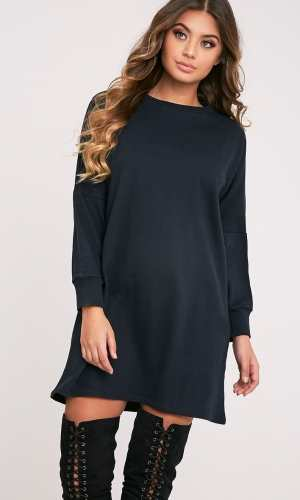 Pretty Little Thing LAINE BLACK OVERSIZED SWEATER DRESS