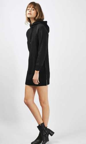 Topshop Cable Hooded Knitted Dress