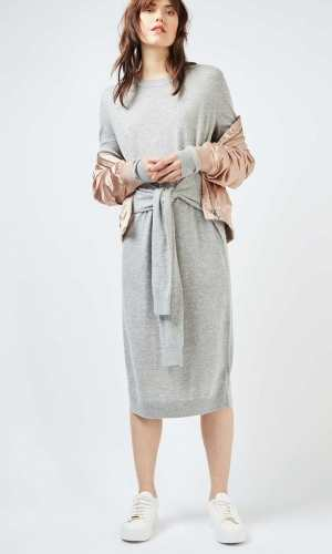 Topshop Oversized Tie Waist Midi Dress