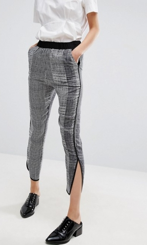 ASOS Peg Trousers With Contrast Binding In Mono Print