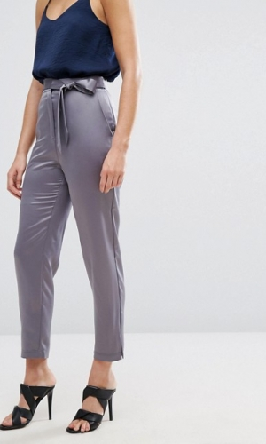 ASOS Satin Peg Trousers With Split Hem And Belt Pewter